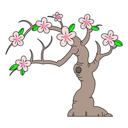 How to Draw a Flowering Peach Tree Easy Step by Step for Kids
