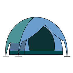 How to Draw a Big Tent Easy for Kids