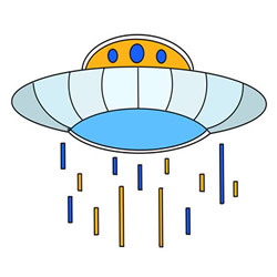 Cartoon UFO Drawing Easy Step by Step for Kids