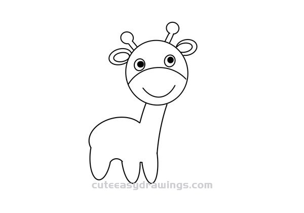 Simple Cute Giraffe Drawing Step by Step for Kids