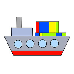 How to Draw a Cute Container Ship Easy
