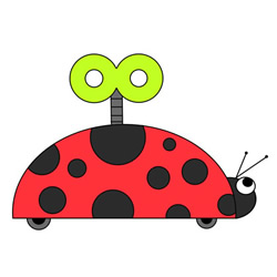 How to Draw a Ladybug Clockwork Toy Easy for Kids