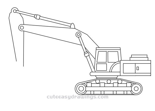 How to Draw a Large Excavator for Kids