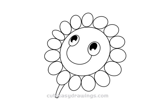 How to Draw a Cartoon Sunflower