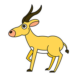 How to Draw a Standing Antelope Easy Step by Step for Kids