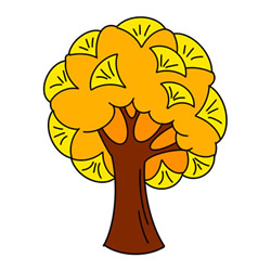 How to Draw an Autumn Ginkgo Tree Easy for Kids