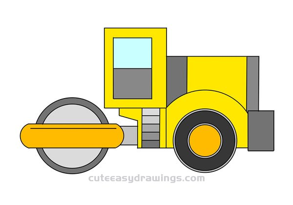 Road Roller Drawing Easy Step by Step for Kids