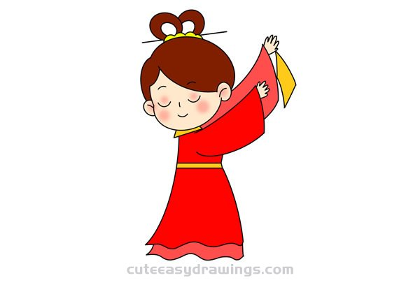 How to Draw an Ancient Chinese Dancing Girl Easy for Kids