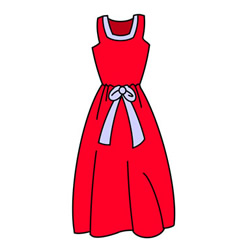 How to Draw a Red Dress Easy Step by Step for Kids
