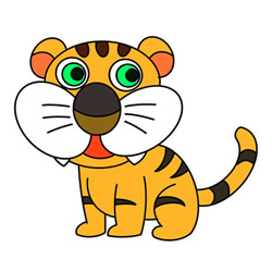 How to Draw a Cute Tiger Sitting Easy for Kids