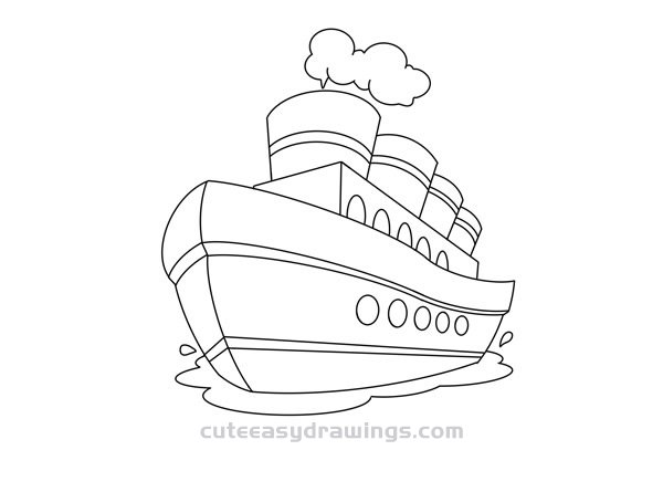 How to Draw a Sailing Early Cruise Ship Easy for Kids
