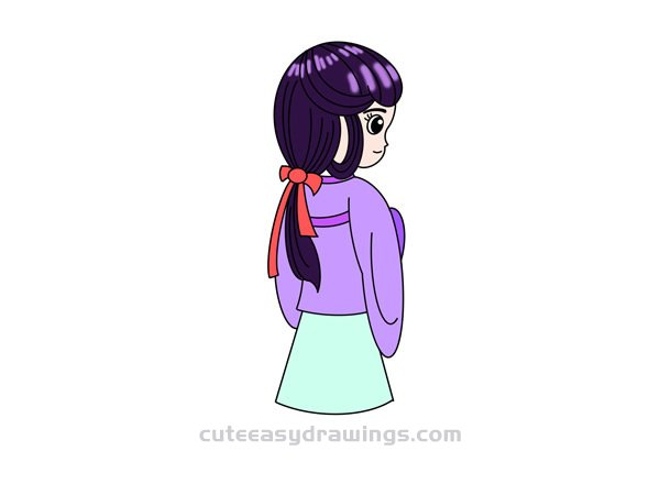 How to Draw an Ancient Japanese Girl Easy for Kids