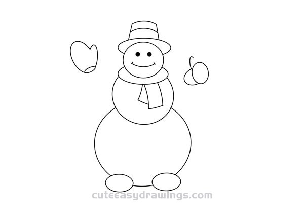 How To Draw A Snowman Gentleman Easy Cute Easy Drawings