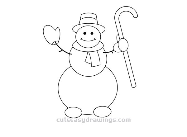 How to Draw a Snowman Gentleman Easy