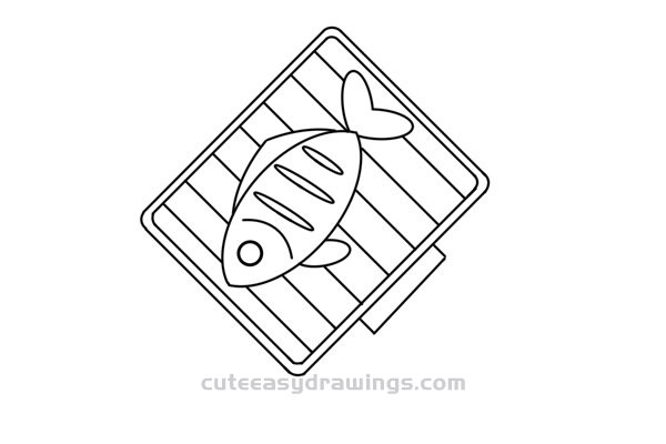 How to Draw a Barbecue Net That is Grilling Fish Easy