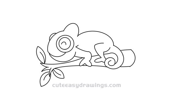Simple Chameleon Drawing Tutorial for Kids