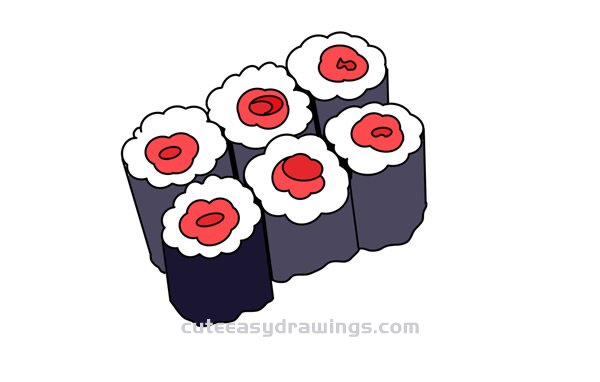 How To Draw Japanese Sushi For Kids Cute Easy Drawings