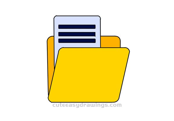 How to Draw a File Folder Easy Step by Step for Kids