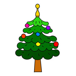 Cute Christmas Tree Drawing Easy Step by Step for Kids