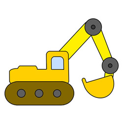 Cute Excavator Drawing Step by Step for Kids