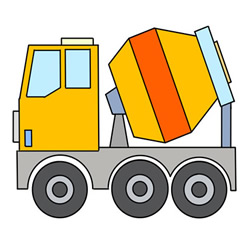 How to Draw a Concrete Mixer Truck Easy Step by Step for Kids