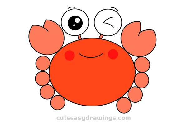 Cartoon Drawing of Crab Step by Step for Kids
