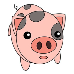 How to Draw a Surprised Piglet Step by Step for Kids