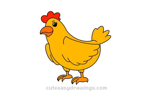 How to Draw a Watchful Hen Easy for Kids