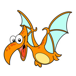 How to Draw a Flying Cartoon Pterodactyl for Kids