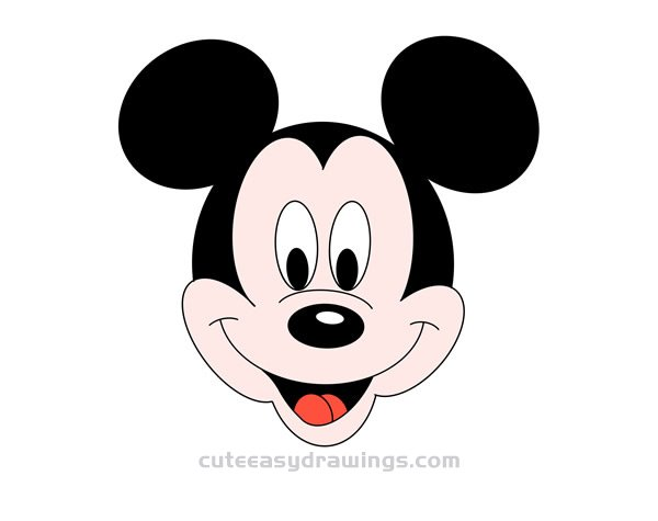 How to Draw Classic Mickey Mouse Head Easy for Kids