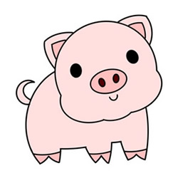 Pink Piggy Drawing Easy Step by Step for Kids