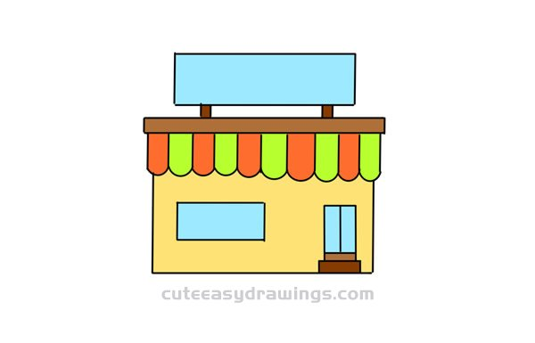 How to Draw a Cartoon Convenience Store for Kids