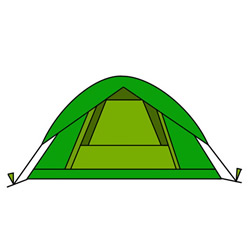 Simple Draw a Tent Step by Step