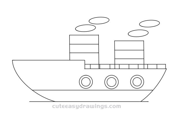 How to Draw a Cute Big Ship Easy for Kids
