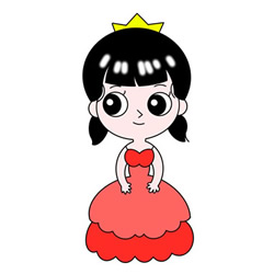 How to Draw a Gentle Cartoon Princess Easy for Kids