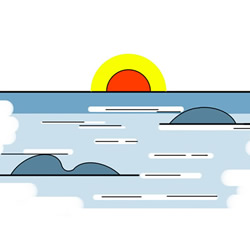 How to Draw Sea Sunrise Easy Step by Step for Kids