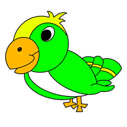Cartoon Easy Parrot Drawing Step by Step for Kids