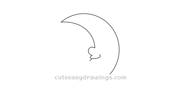 How to Draw a Sleepy Moon Easy Step by Step for Kids
