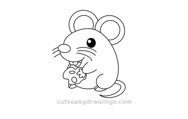How to Draw a Mouse Eating Cheese Step by Step for Kids
