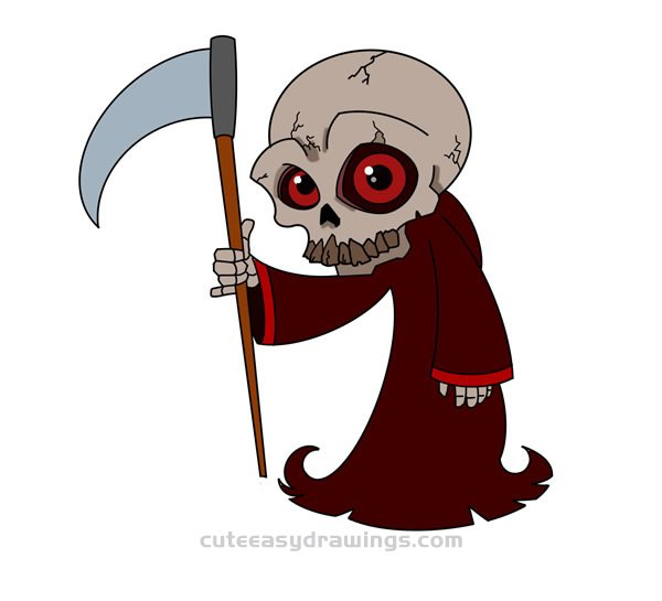 How to Draw Grim Reaper with a Sickle for Kids