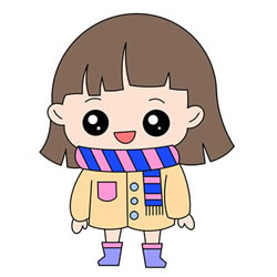 How to Draw a Cartoon Girl in a Scarf for Kids