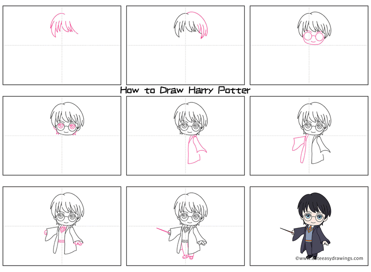 How to Draw Harry Potter with a Magic Wand for Kids