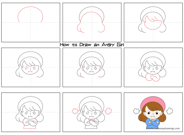 How to Draw an Angry Girl for Kids