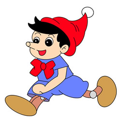 How to Draw Pinocchio Running for Kids