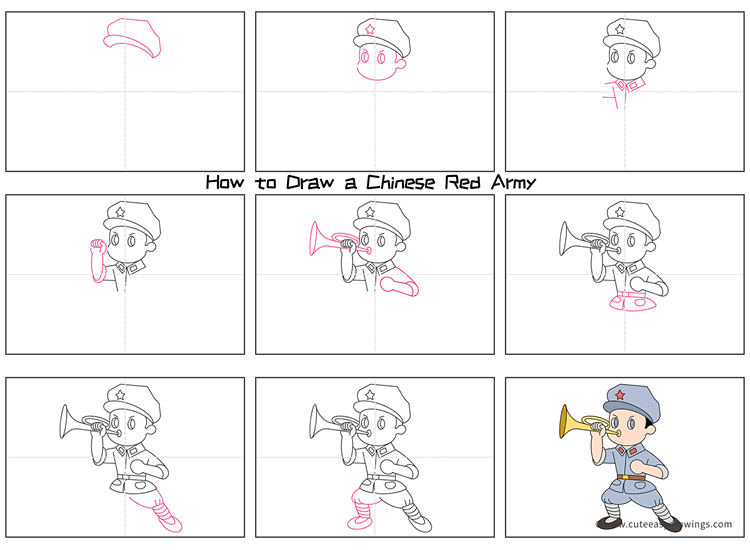How to Draw a Chinese Red Army Soldier Step by Step