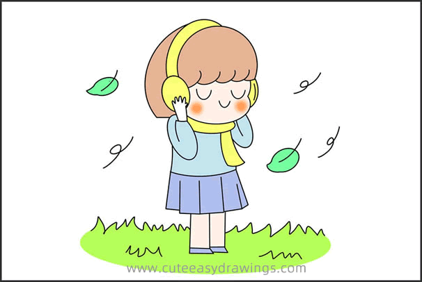 How to Draw a Girl in Autumn for Kids