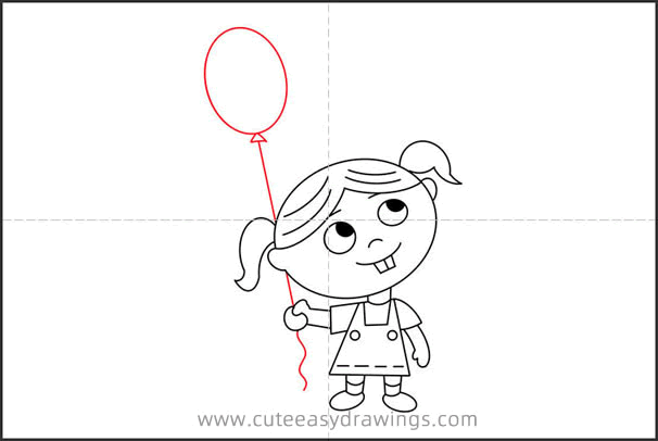 How to Draw a Girl Holding a Balloon for Kids