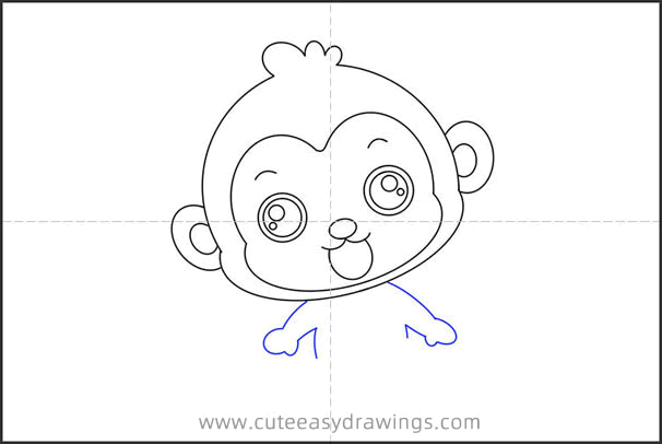 How to Draw a Cartoon Monkey Wearing a Lifebuoy for Kids