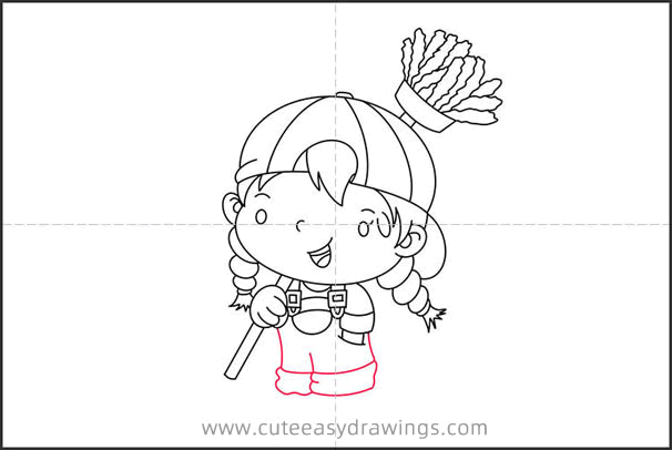 How to Draw a Girl Doing Housework for Kids