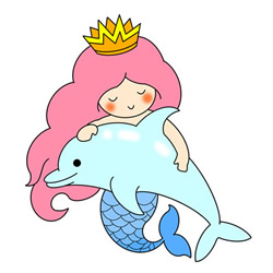 How to Draw Mermaid Princess and Dolphin for Kids